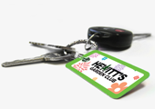 picture of a key tag on a key ring used for rewards program