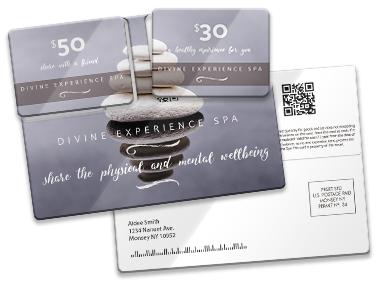 Plastic postcard direct mailer PCDM508 custom printed by CardPrinting.com