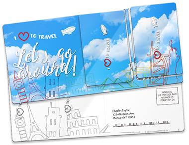 Plastic postcard direct mailer PCDM513 custom printed by CardPrinting.com